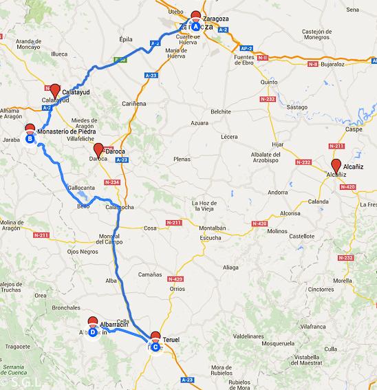 Ruta Zaragoza y Teruel. 6 rutas lowcost en coche