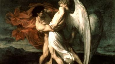 Representação artística de Jacó vs Anjo