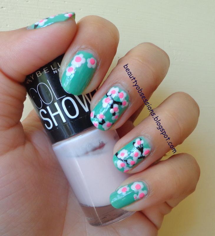 Cherry Blossom Inspired Nail Art - Step By Step Tutorial ...