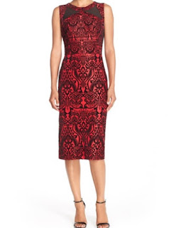 ECI flecked scuba sleeveless sheath midi dress in red and black jacquard print with lapel detail