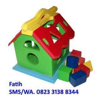 Mainan Edukasi Kayu Rumah Geometri