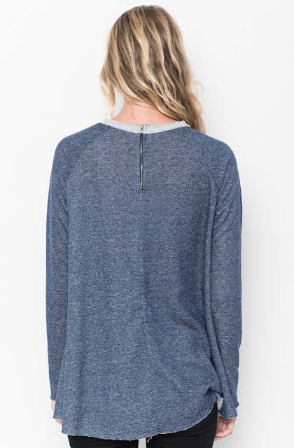 Shop for Navy Raw Edge Zipper Tunic Online Final Sale $18 on caralase.com