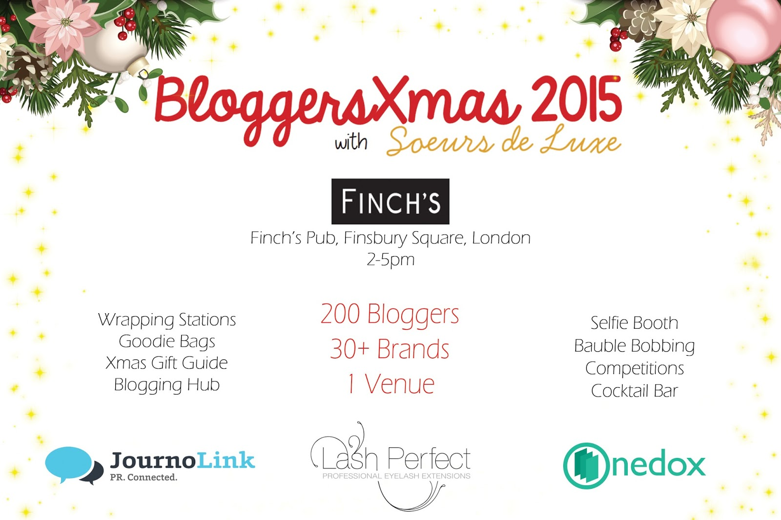 bloggersxmas 2015 information soeursdeluxe journolink lash perfect onedox bloggers event london