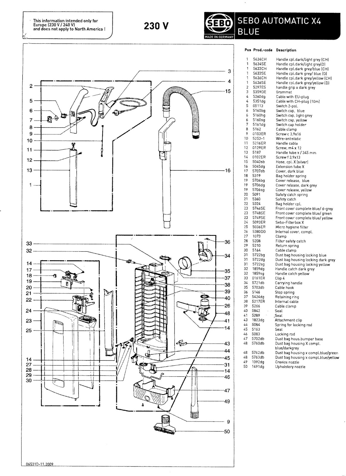 Sebo Automatic X4 Parts Manual Exploded Diagram