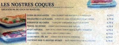 Carta de cocas de la cafetería y hambuguesería Khenyan