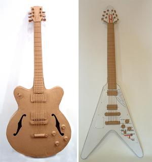 Guitarras eléctricas de juguete con cartón reciclado