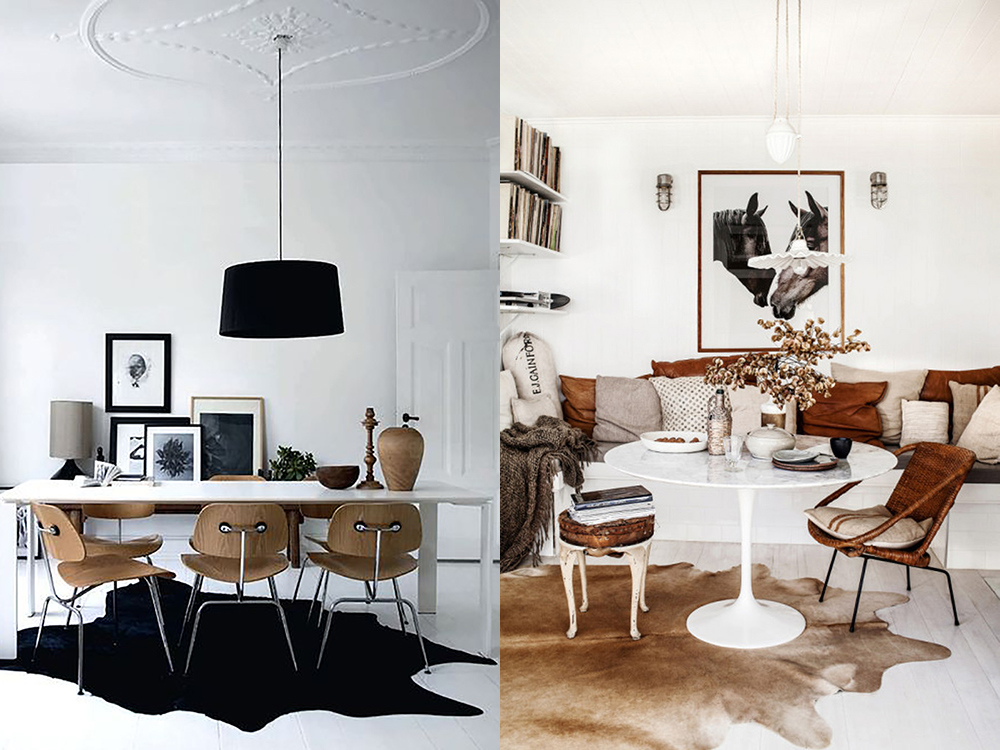 Cowhides and dining rooms? | Design Seeker