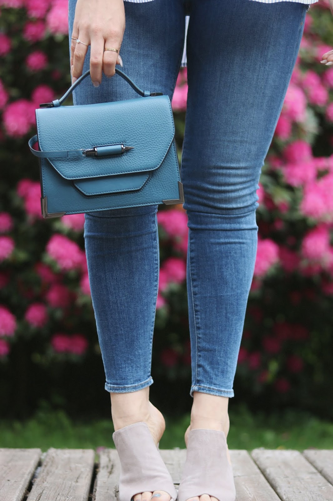 good american good legs jeans striped blouse outfit le chateau vancouver blogger mackage handbag aleesha harris