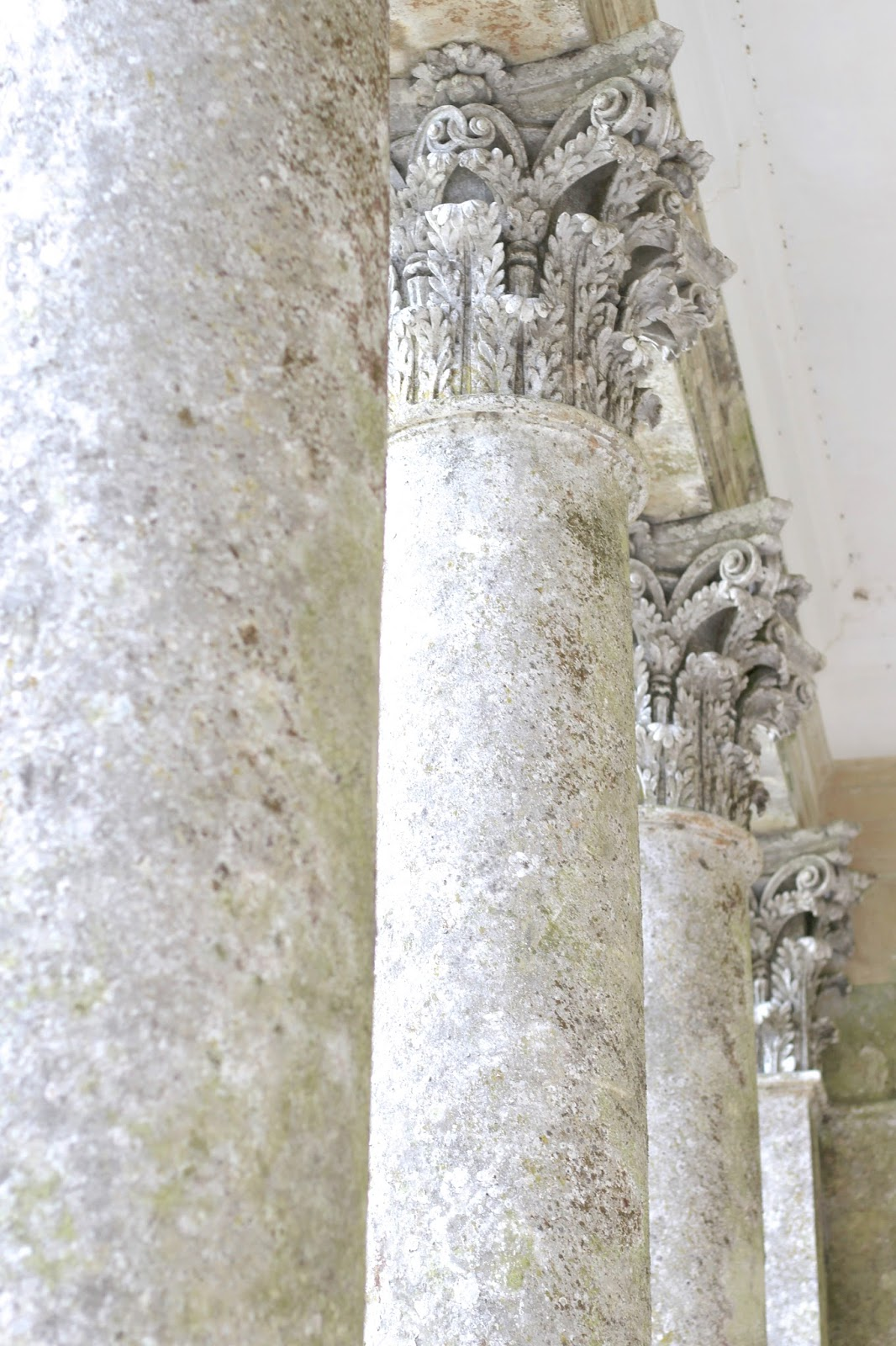 Beautiful pale roman pillars at Stourhead Pantheon