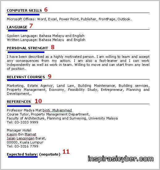 Koleksi Contoh Resume Lengkap Terbaik Dan Terkini Contoh Resume