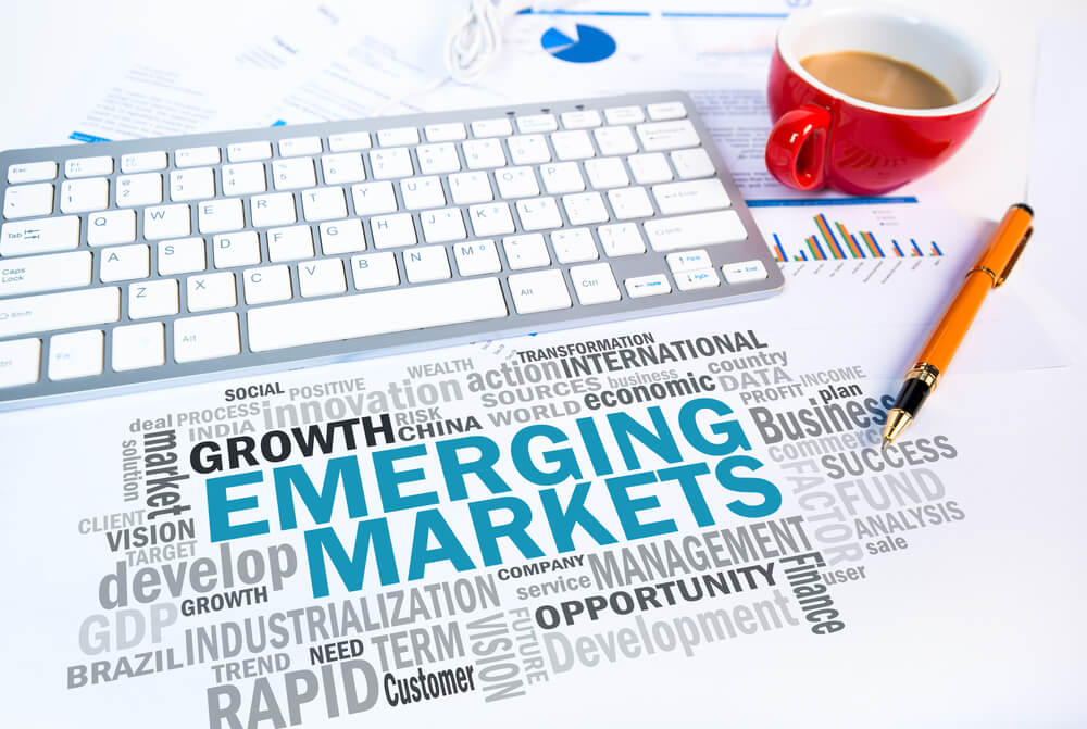 Emerging markets written in huge block letters among other smaller words