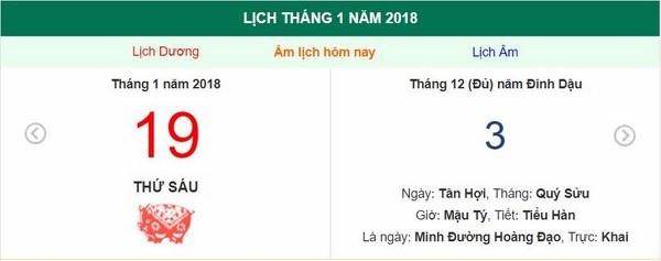 Xem ngày tốt xấu, giờ hoàng đạo -  Xem lịch thứ sáu ngày 19 tháng 1 năm 2018