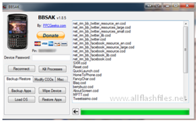 BBSAK (BlackBerry Swiss Army Knife) Blackberry) Tool V1.9.2