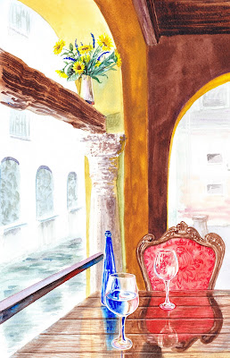 watercolor Italian Cafe