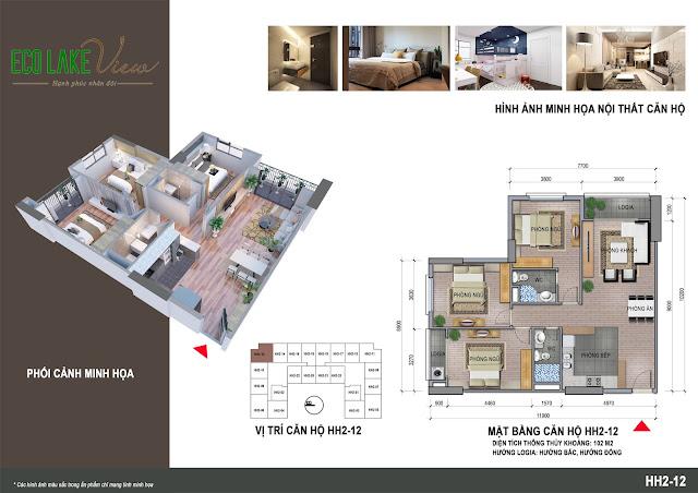 Thiết kế căn hộ A2 - 12 chung cư ECO LAKE VIEW