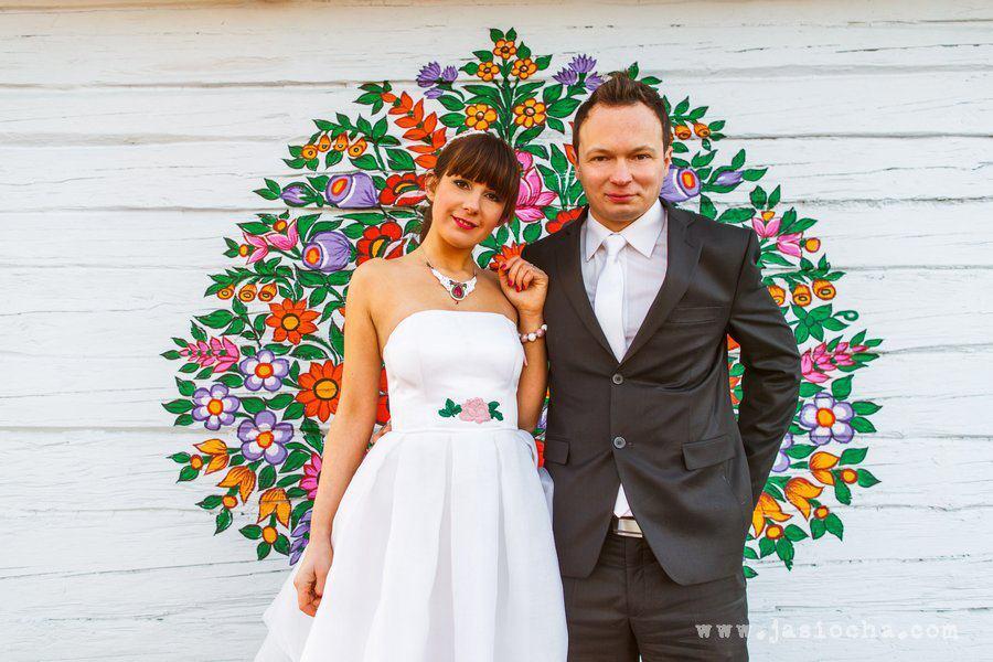 Folkowy naszyjnik ślubny