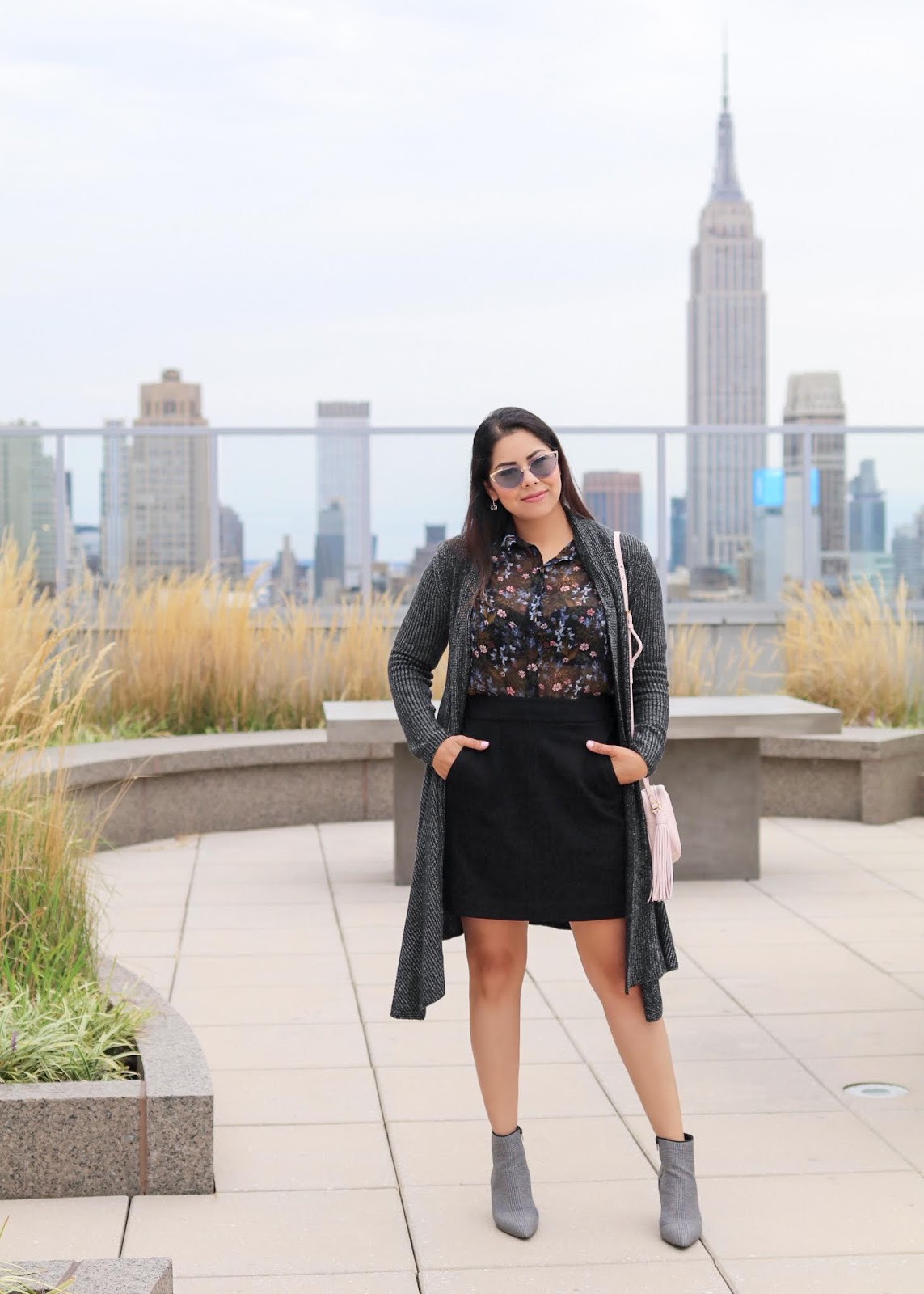 nyfw off duty style, how to wear a sheered floral top, how to wear cabi skirt