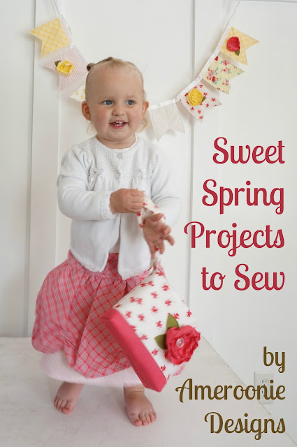 A scalloped skirt, mini tote and fabric bunting are fun spring projects to sew