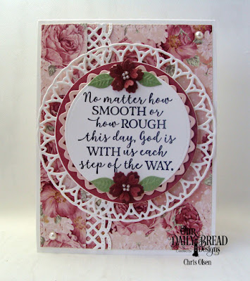 Our Daily Bread Designs, Romantic Roses Paper Pad, the new God Quotes 2, new Filigree Circle dies, Beautiful Border Dies, Circles dies, and Bitty Blossoms dies, designed by Chris Olsen