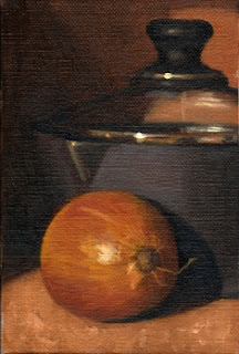 Oil painting of a brown onion in front of a glass-lidded black saucepan.