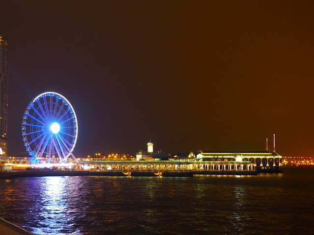 Central Piers and Observation Wheel at night, Hong Kong