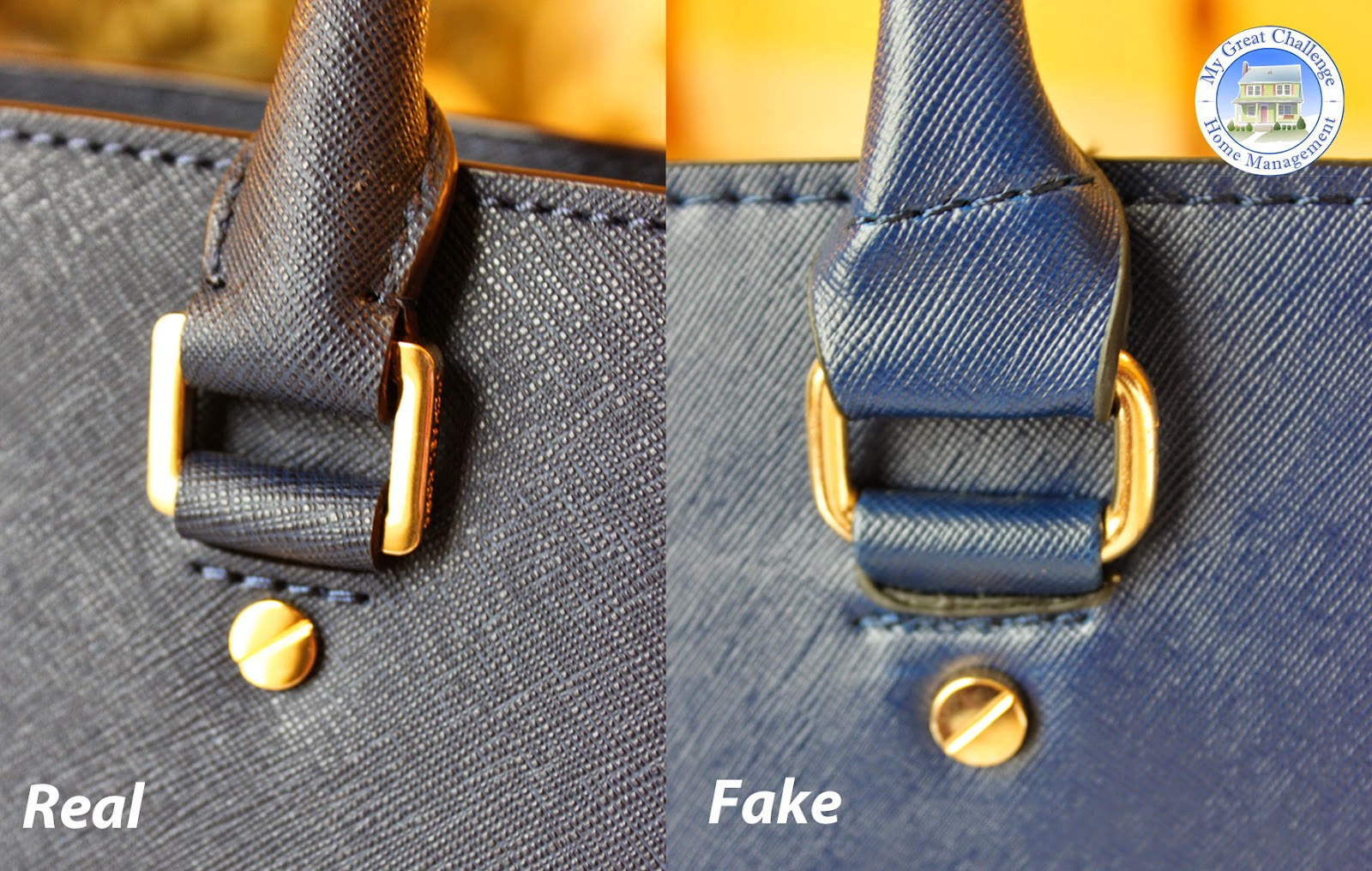 The handle is closed at the base on the real bag while the fake one  provides a simple fold. The real handle is stiff and tight while the fake  is filled with ... 68d17c3ed262e