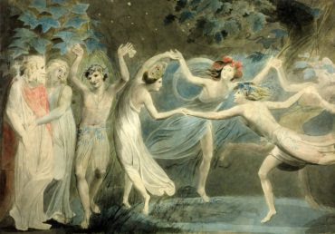 """Oberon, Titania, Puck with the Faeries dancing"", de William Blake."
