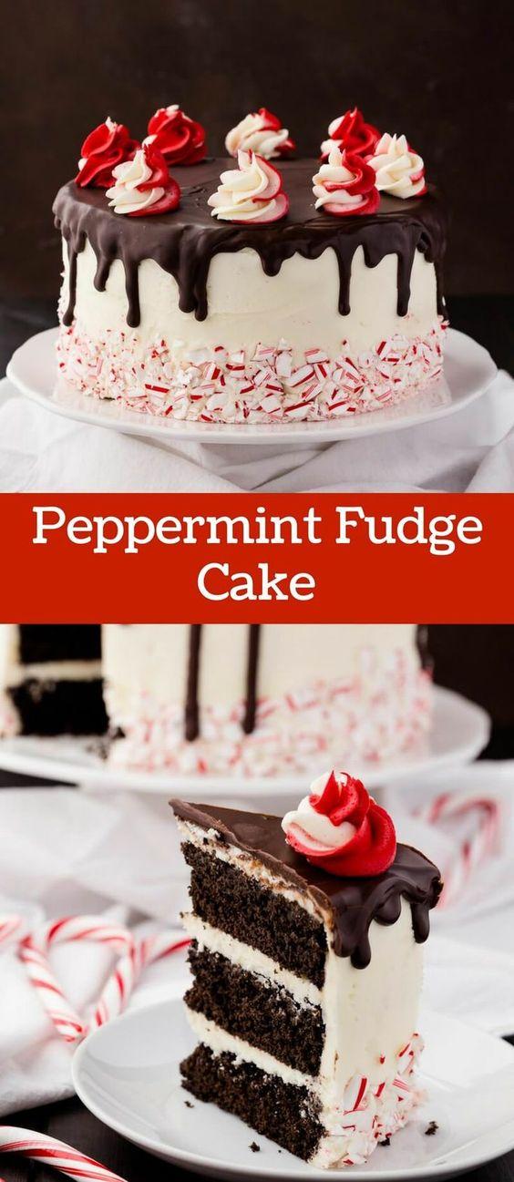 Peppermint Fudge Cake #CAKE #DESSERT #PARTY #CHRISTMAS