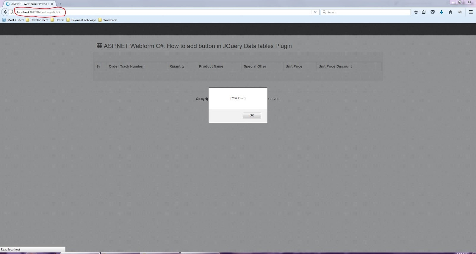 ASP NET Webform: Buttons in Datatables Jquery plugin