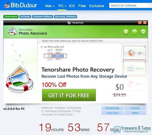 Offre promotionnelle : Tenorshare Photo Recovery gratuit pendant 24 heures !