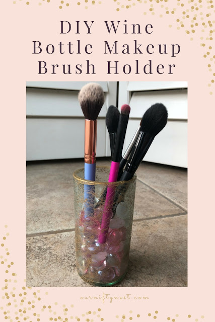 DIY wine bottle makeup brush holder pin