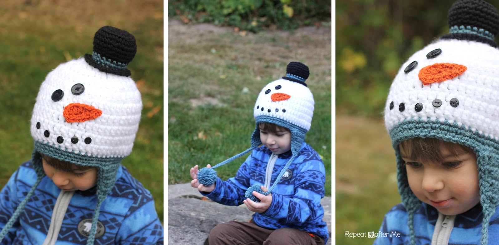 3fb0a22b63a Crochet Snowman Hat Pattern - Repeat Crafter Me