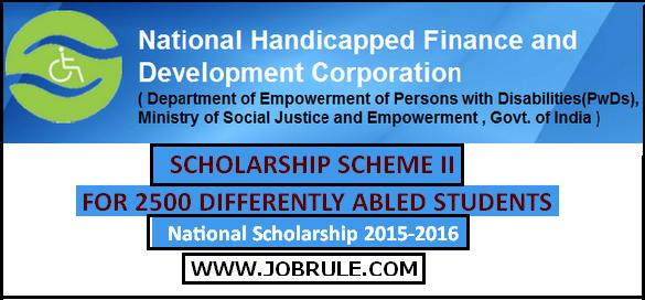 www.nhfdc.nic.in | Scholarship Scheme-II  for 2500 Differnetly Abled Students