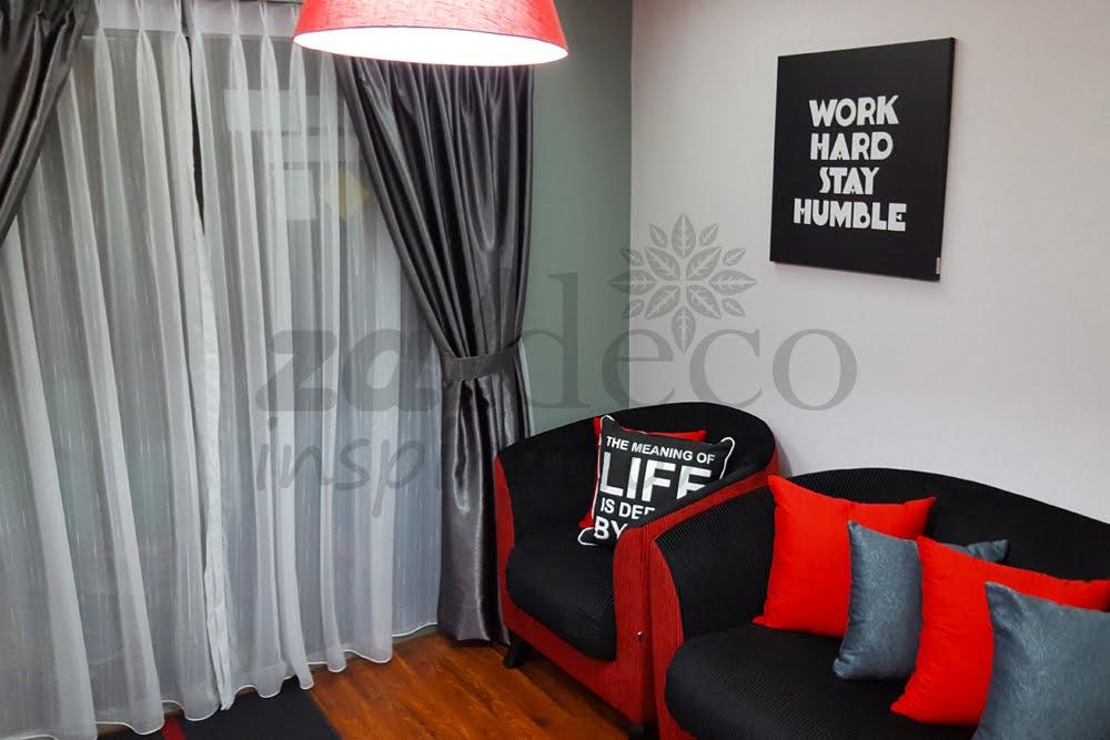 Faizal Zain Tampil Dengan Cetusan Idea Menggunakan Warna Merah Hitam Kelabu Dan Putih Sebagai Kombinasi Utama Untuk Menghiasi Ruang Ini