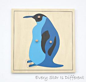 Montessori penguin puzzle