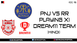 IPL 2018 | PNJ VS KKR | PLAYING XI | DREAM11 TEAM | #DC-16