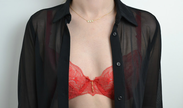 Red French Lace women's underwear By Silent Assembly. Selfridges. Curvessence 3D technology