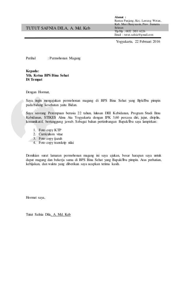 contoh surat permohonan magang bidan