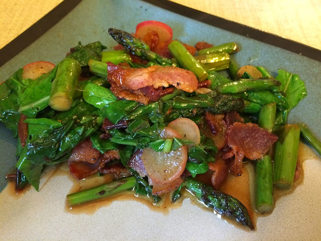 wilted spring garden salad with bacon asparagus radishes arugula rocket