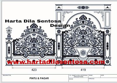 design pintu gerbang besi tempa