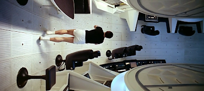 Vertical walk on the spacecraft to Jupiter, 2001: A Space Odyssey (1968), directed by Stanley Kubrick