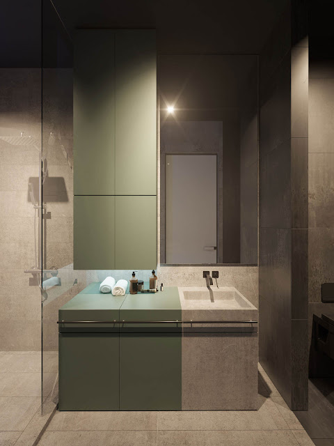 Under-cabinet lighting brightens the vanity area.