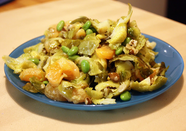 Brussel Sprout, Clementine and Edamame salad