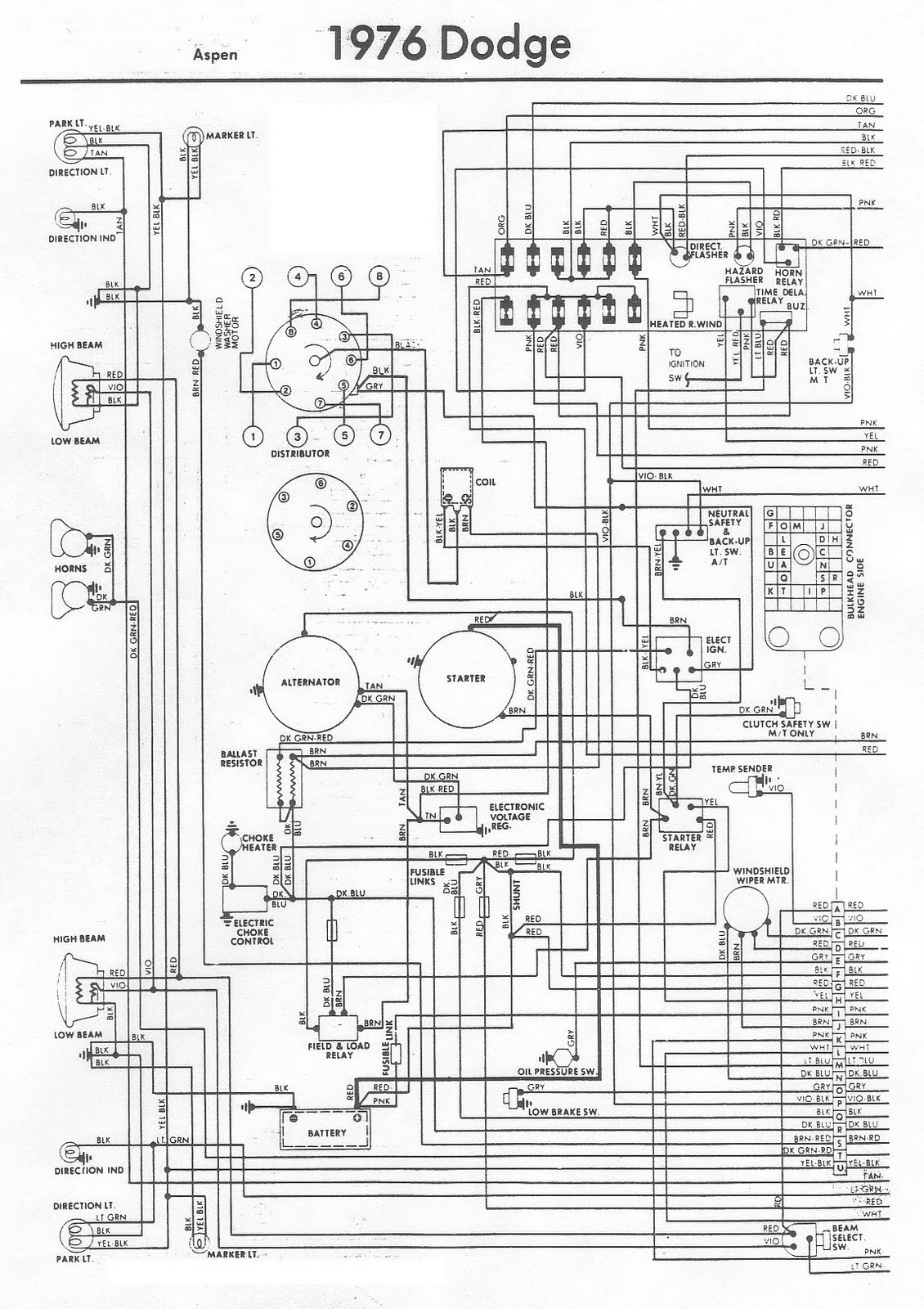 Free Auto Wiring Diagram: 1976 Dodge Aspen Engine Compartment Wiring Diagram