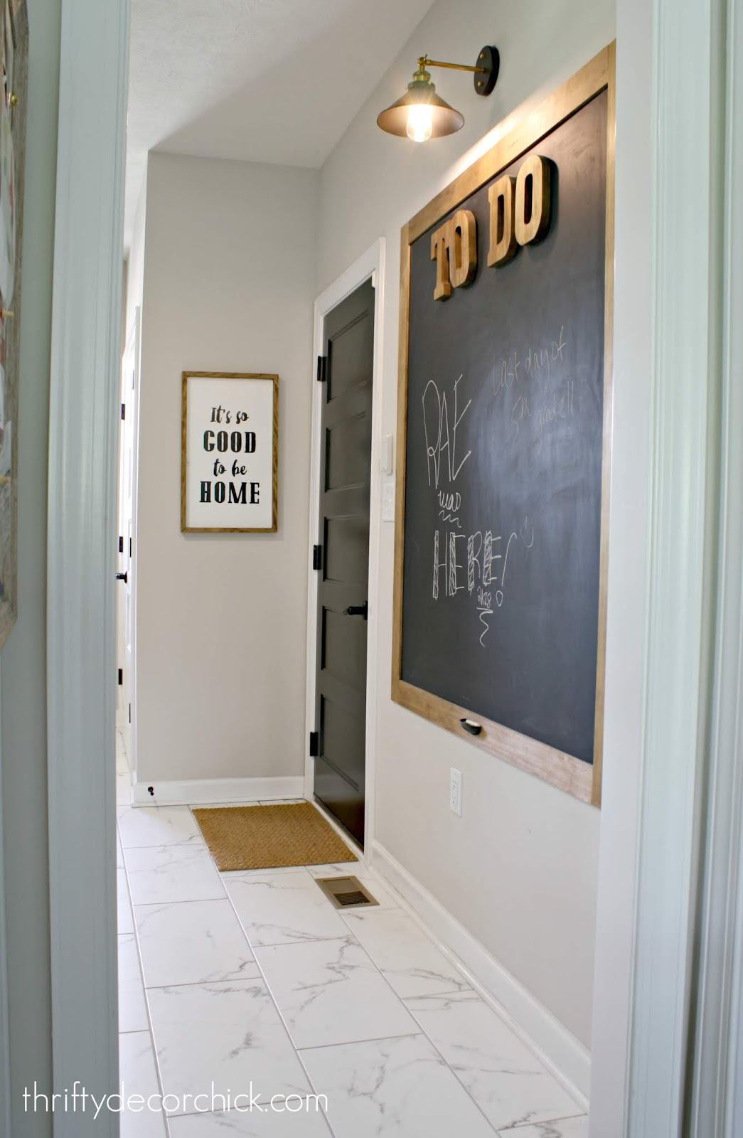 Giant chalkboard wall in mud room