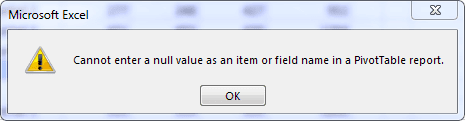 Cannot enter a null value as an item or field name in a pivottable report