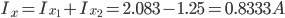 I_ {x} = I_ {x_1} + I_ {x_2} = 2,083-1,25 = 0,8333 A