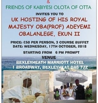 Awori Descendants Union (UK and Ireland) Will Be Hosting The Olota Of Otta In London.
