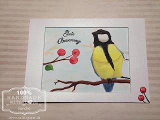 Ein Vogel von Prima Marketing coloriert mit Copic Markern