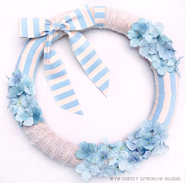 DIY spring wreath, crafting, light blue & burlap, blue stripes, wreath